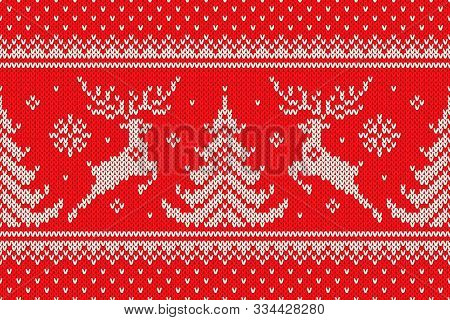 Traditional Winter Holiday Knitting Pattern With Reindeers And Christmas Trees. Scheme For Wool Knit