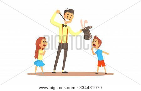 Young Man Magician Pulling Rabbit From Top Hat For Spectators Vector Illustration