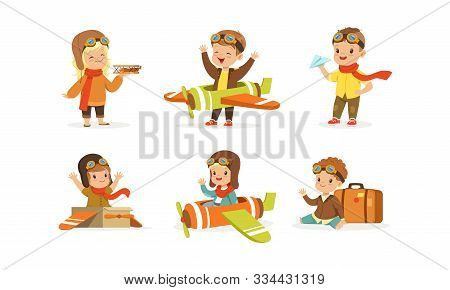 Kids Playing Pilot Wearing Airman Costume Vector Set poster