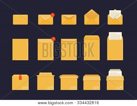 Opened And Closed Envelope, Box And  With Note Paper Card. Mockup Set.