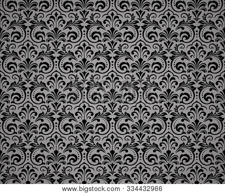 Floral Pattern. Vintage Wallpaper In The Baroque Style. Seamless Background. Black Ornament For Fabr