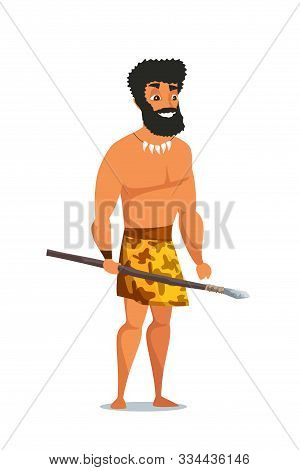 Stone Age Man With Spear Flat Vector Illustration. Primitive Ancient Male Cartoon Character. Caveman