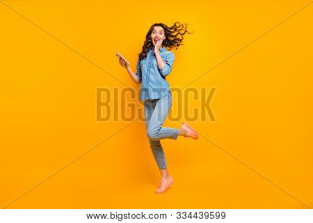 Full Length Body Size Photo Of Cheerful Crazy Sweet Pretty Girlish Feminine Youngster Overjoyed Abou