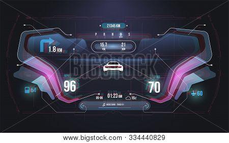 Speed Hud Kilometer Performance Indicators Dashboard. Car Instrument Panel. Tachometer, Data Display