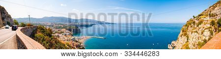 Meta, Naples, Italy - September 05, 2019: Panorama Of High Cliffs, Tyrrhenian Sea Bay With Pure Azur