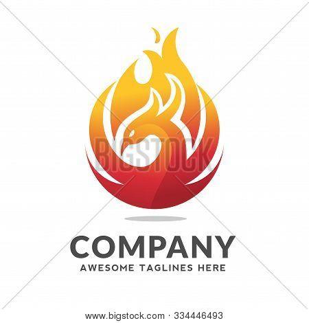 Phoenix Circle Logo Vector, Best Circle Phoenix Bird Logo Design, Phoenix Vector Logo,creative Logo