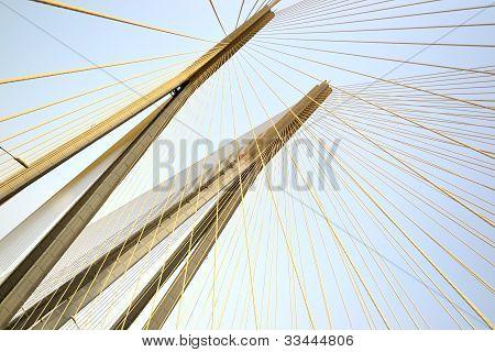 Pylons of the Bandra-Worli Sea Link bridge which links Bandra with Worli at Mumbai India poster