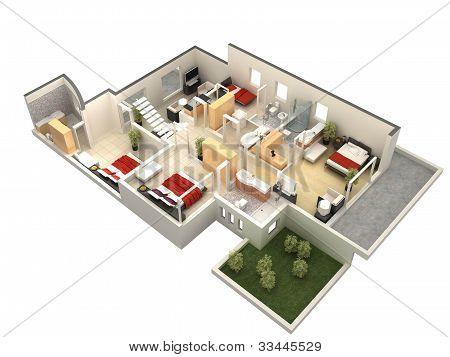 3d villa floor plan