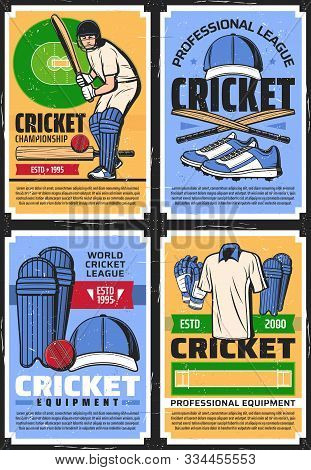 Cricket League Championship And Professional Equipment Store, Vector Vintage Retro Posters. Cricket