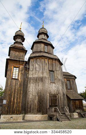 Wooden Cossacks Tserkva (st.george's Church) In Ukrainian Village Sedniv Near Chernihiv