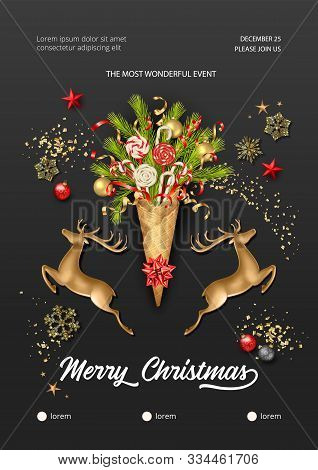 Christmas And New Year Poster. Golden Jumping Deer Figurine And Ice Cream Cone With Fir Branches And