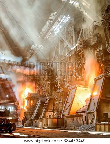 Melting Of Metal In A Steel Plant. Metallurgical Industry