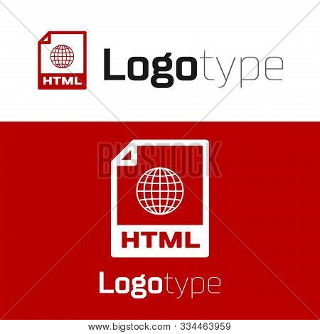 Red Html File Document. Download Html Button Icon Isolated On White Background. Html File Symbol. Ma