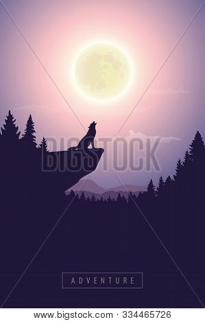 Wolf On A Cliff Howls At Full Moon Mystic Nature Landscape Vector Illustration Eps10