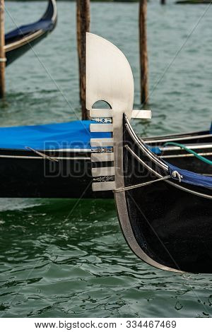 Venice, Detail Of A Prow Of Gondola, Typical Venetian Rowboat, Canal Grande, Unesco World Heritage S