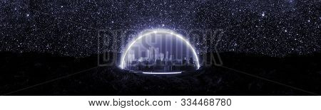 Illustration Of Abstract Encapsulated Futuristic City On Space, On New Habitable Planet, On Rocky Gr