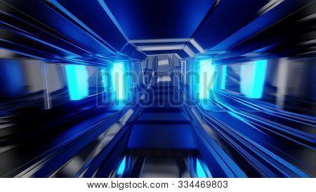Futuristic Scifi Space Hangar Tunnel Corridor With Glass Windows 3d Rendering Background Wallpaper,