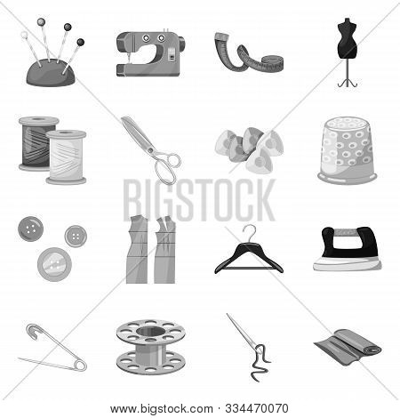 Vector Design Of Dressmaking And Textile Sign. Collection Of Dressmaking And Handcraft Stock Vector
