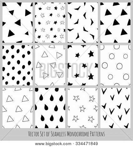 Vector Set Of Seamless Monochrome Black And White Patterns In Simple Scandinavian Style. Collection