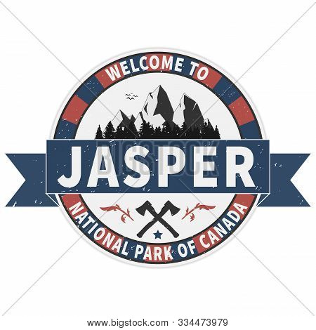 Welcome To Jasper National Park Canadian Mountains Icon. Simple Illustration Of Canadian Mountains V