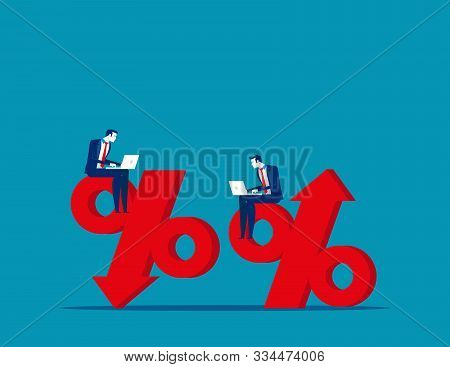 Business People And Percentage Signs. Concept Business Vector, Growth, Failing, Risk, Successful.
