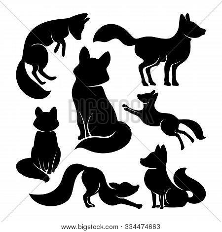 Set Of Fox Logo Vector. Animal Coyote Logo Design Template Illustration