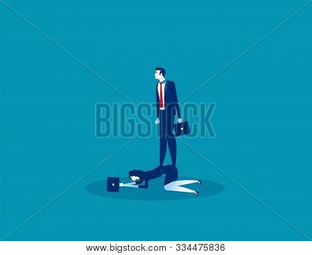Boss Oppressive Employee. Concept Business Vector, Employment And Labor,  Obliged, Expression.