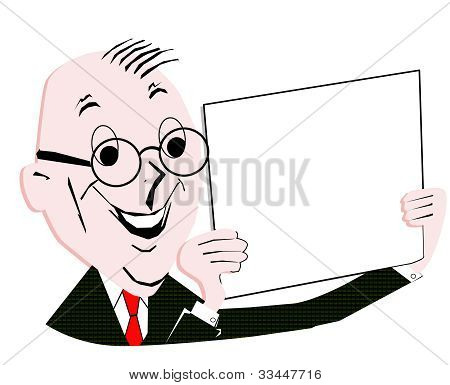 retro businessman hanging a blank  sign