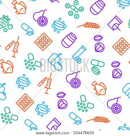Vitamin And Dietary Signs Thin Line Seamless Pattern Background On A White Include Of Supplement, Bo