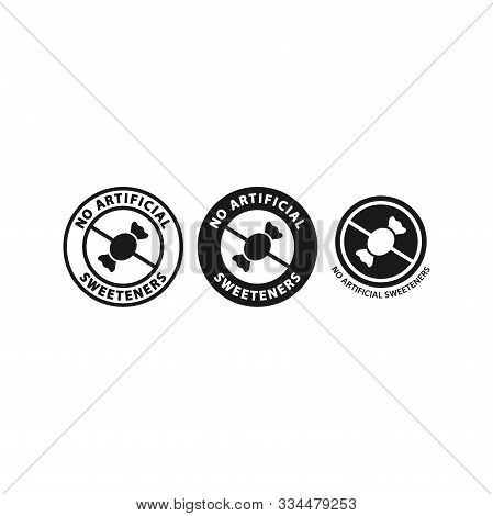 No Artificial Sweeteners Circle Sticker. Vector Label For Food Packagings.
