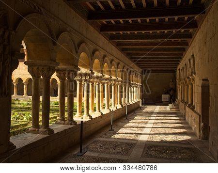 Monastery of Santo Domingo de Silos, Burgos. Spain - May 3, 2019. Cloister of the Benedictine Monast