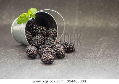 Small Metal Bucket With Blackberries On Table. Yummy Dewberries. Organic Brambles. Healthy Vegan Sna