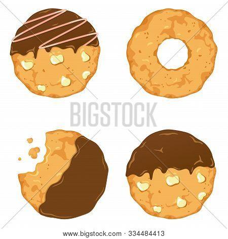 Traditional Cookies With Chocolate Crisps. Bitten, Broken, Cookie Crumbs. Vector Illustration In Car
