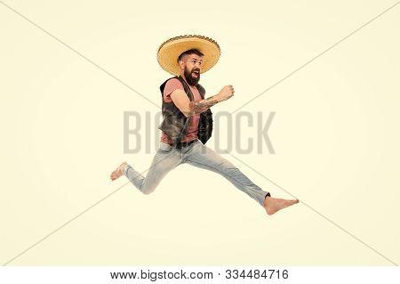 Guy Happy Cheerful Face Having Fun Dancing Jumping. Life In Motion. Man Bearded Cheerful Guy Wear So