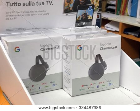 November 2019 Parma, Italy: Google Chromecast Device On Display Of Electronics Store