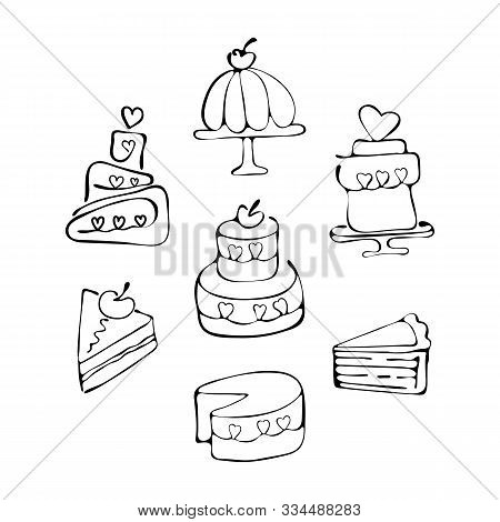 Set Of Icons Tiered Birthday Cake, Piece Of Cake, Sweets. Continuous Line Drawing. Symbol Of Celebra