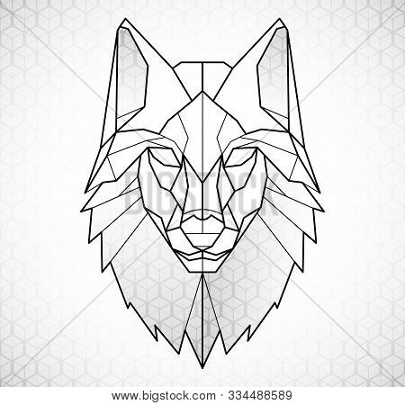 Wolf Head Icon. Abstract Triangular Style. Contour For Tattoo, Logo, Emblem And Design Element. Hand