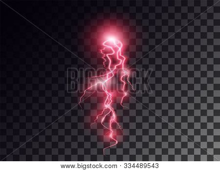 Electric Red Discharge, Flash, Transparent Glow. Vector Design Element On Isolated Background. Eps.