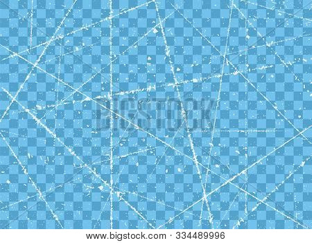 Ice Crack. The Texture Of A Frosty Ice Rink For Ice Skating With The Scratches, Grunge. Vector Illus