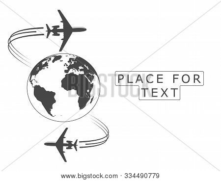 Airplane. Silhouette Soaring Around The Globe. A Twisting Plane Trail. Illustration With Space For T