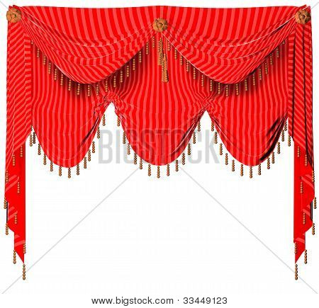 A red curtain on the white background
