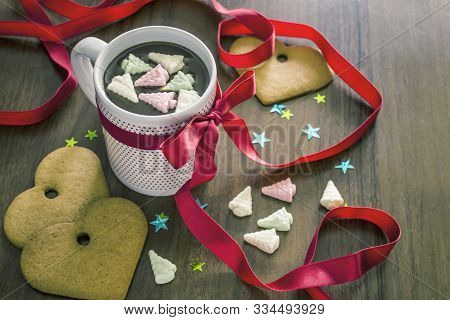 Cocoa With Marshmallows, Orange Slices, Cinnamon And Gingerbread Cookies. Christmas Stillife, Holida
