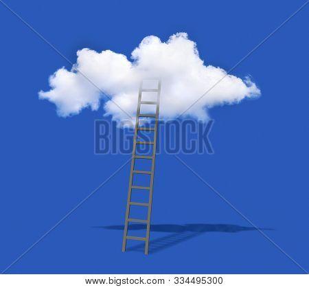 Ladder To Get Inside The Cloud On The Blue Sky, 3d Illustration