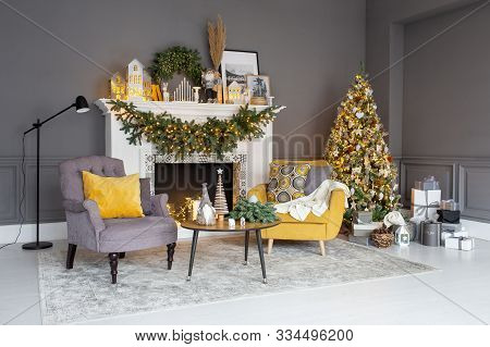 Nizhniy Novgorod, Russia - November 8, 2019: Photo Studio 2.8. Living Room Decorated For Christmass