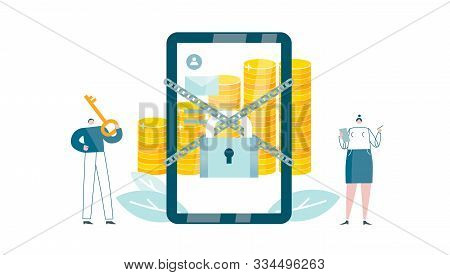 Bank Software For Smartphones Locks Access. Protection For Money Account. Virtual Assistant Requests