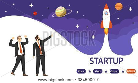 Startup. The Concept Of A Successful Startup. Businessmen Rejoice At A Successful Startup. The Rocke