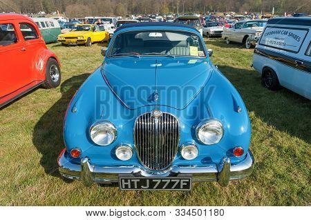 Rushmoor, Uk -april 19: Vintage British Jaguar Mk2 Car At A Meeting Of Classic Vehicles In Rushmoor,