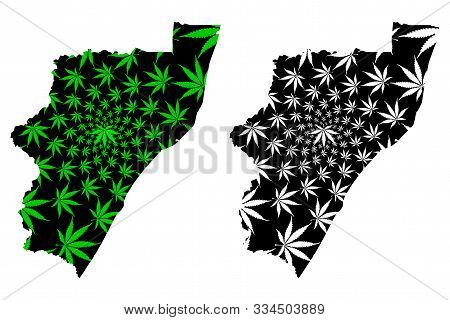 Kwazulu-natal Province (republic Of South Africa, Rsa) Map Is Designed Cannabis Leaf Green And Black