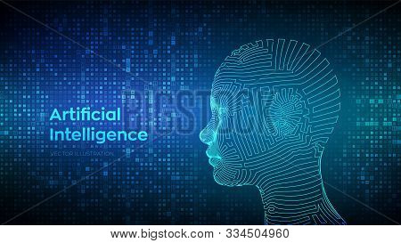 Ai. Artificial Intelligence Concept. Abstract Wireframe Digital Human Face On Streaming Matrix Digit