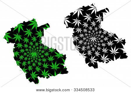 Stirling (united Kingdom, Scotland, Local Government In Scotland) Map Is Designed Cannabis Leaf Gree